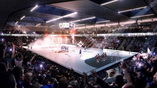Blick in die geplante Sporthalle mit Handballspielern auf dem Feld und viel Publikum.