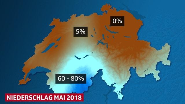 Schweizkarte mit braunen Flächen,- bisher kein Niederschlag und einer Abstufung von türkis bis dunkelblau, 5 bis 60 Prozent des normalen Mainiederschlags - Wallis bis Berner Oberland.