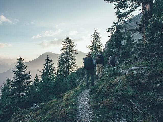 Eine Frau und zwei Männern wandern einen Wanderweg hinauf während die Sonne aufgeht.