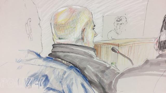 Zeichnung. Beschuldigter und Richter