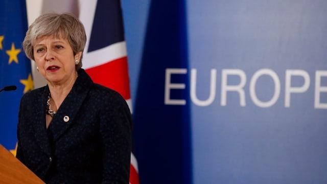 Premierministerin Theresa May an der Pressekonferenz