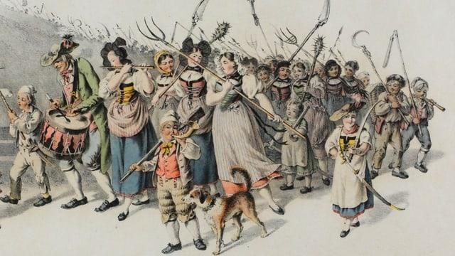 Zeichnung: Frauen und Greise mit Waffen