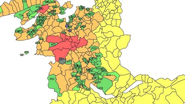 Landkarte der Prämienregionen im Kanton Bern