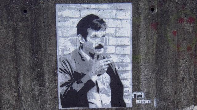 Mani Matter Graffitti auf Betonwand
