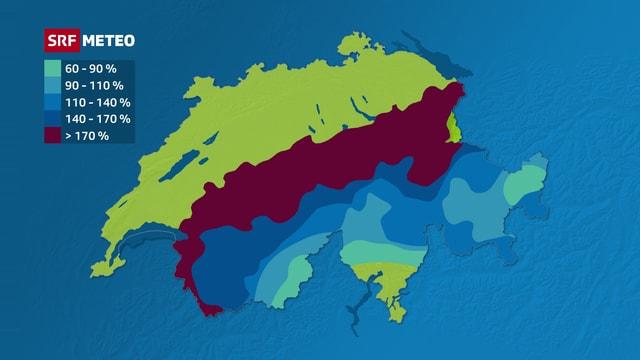 Die Karte zeigt, am Alpennordhang liegt vielerorts mehr als 170 Prozent der üblichen Schneemengen.