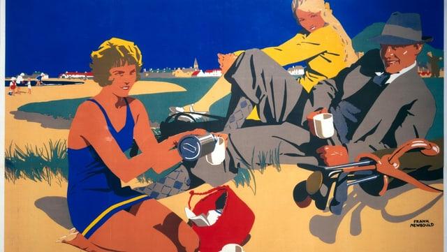 Bunte Zeichnung aus den 1920er-Jahren von zwei Frauen und einem Mann, die am Strand Kaffee trinken.
