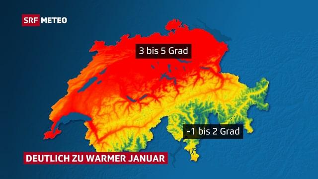 Die Schweizer Karte zeigt die Temperaturabweichungen in Farbe. Im Flachland und in den Alpentälern sticht der Wärmeüberschuss in roten Farbtönen ins Auge.