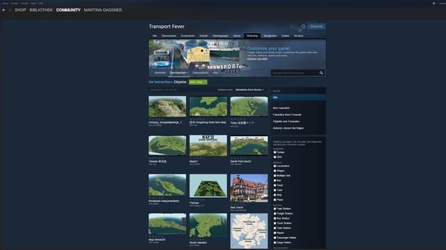 Die Workshop-Abteilung von Steam. Mit ganz vielen unterschiedlichen Karten zum gratis Dowload.