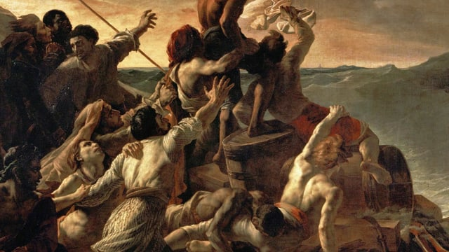Bild: Zahlreiche Menschen auf einem einfachen Floss in einem Meeressturm.