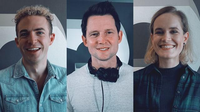 Michael Elsener, Fabian Unteregger und Michelle Kalt am SRF 3 Comedy-Zmorge.