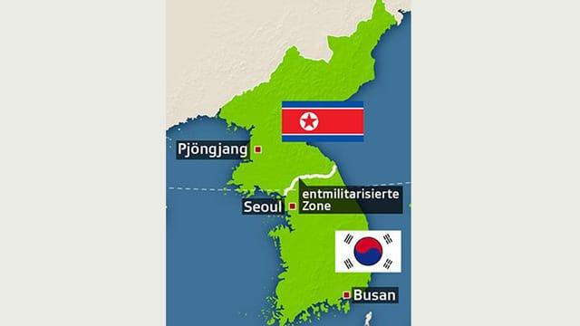 Karte der geteilten koreanischen Halbinsel