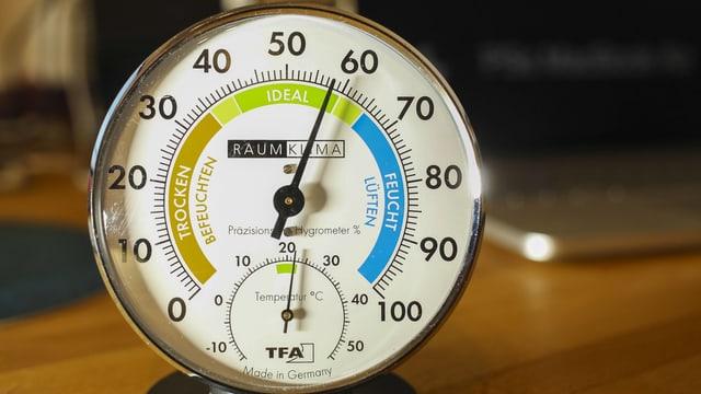 Ein Hygrometer steht auf einem Tisch.