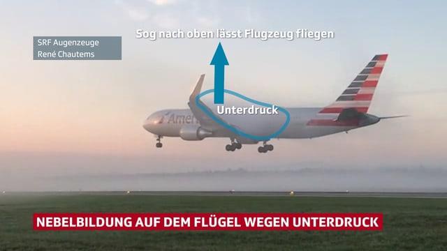 Flugzeug im Ladeanflug nahe über dem Boden. Es liegt Bodennebel und auch auf den Tragflächen hat es wenig Nebel.