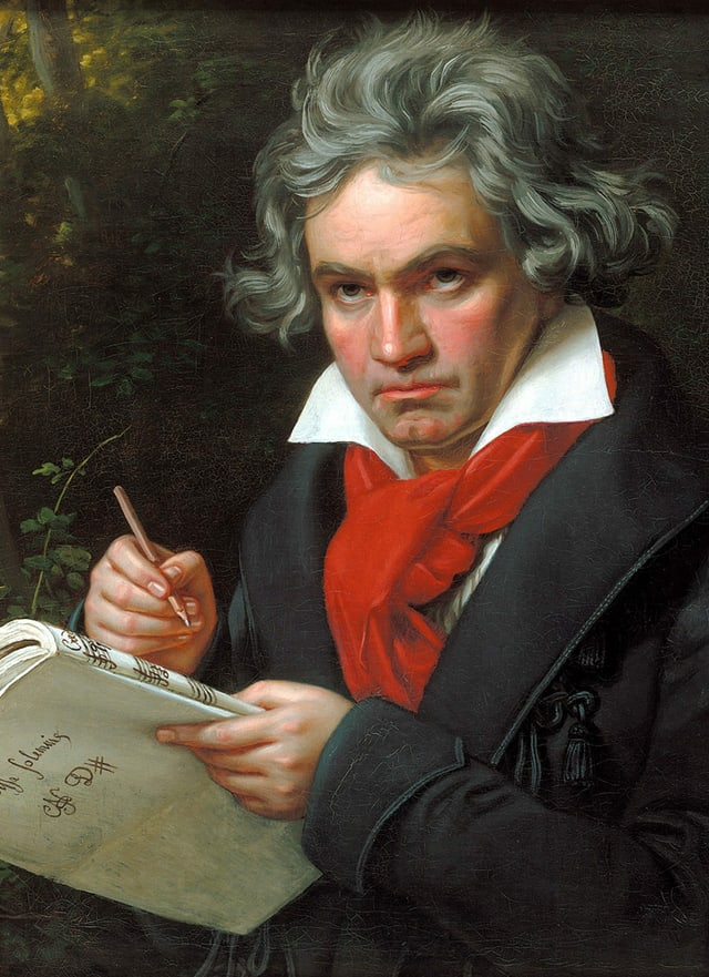 Ein gemaltes Porträt eines älteren Mannes mit rotem Schal (Beethoven), der sich eine Komposition aufschreibt.