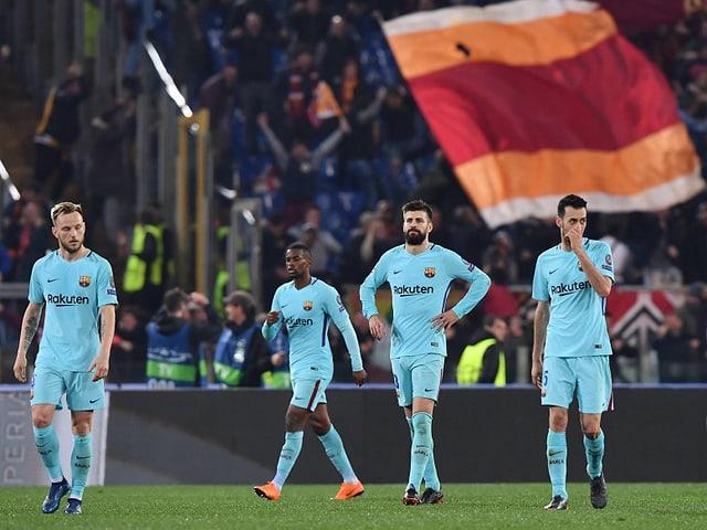 Enttäuschte Barcelona-Spieler.