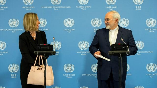 Federica Mogherini da l'UE e Dschawad Sarif minister da l'exteriur iranais.