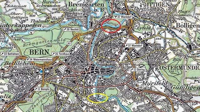 Karte der Stadt Bern
