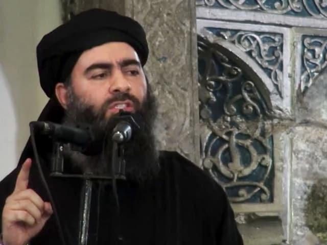 Porträt von Abu Bakr al-Baghdadi.