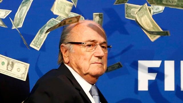 Sepp Blatter und Dollar-Scheine