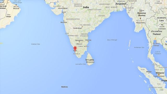 Kartenausschnitt mit der indischen Halbinsel.