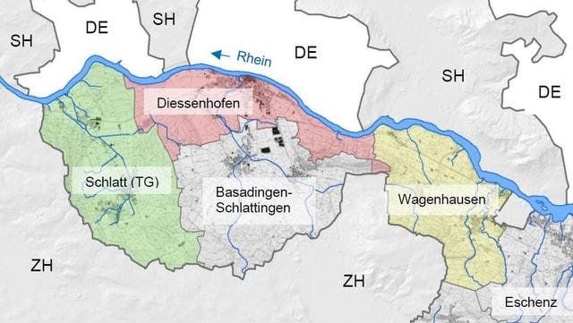 Karten-Übersicht über das Untersuchungsgebiet am Rheinufer der Gemeinden Wagenhausen, Diessenhofen und Schlatt.