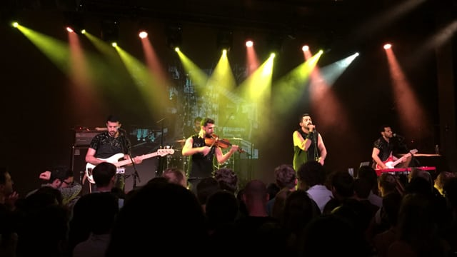 Die Band Mashrou' Leila an einem Konzert.