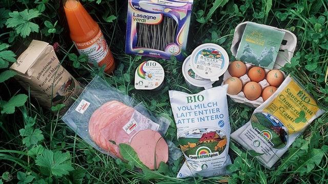 Bioprodukte liegen im Gras, darunter Eier, Saft, Schinken und Sauerkraut