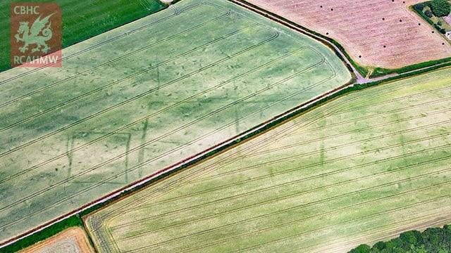 Vogelperspektive auf Felder und Wege. Umrisse von Häuser erkennbar.