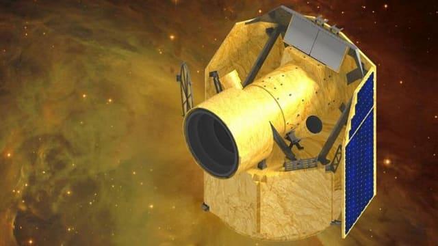 Illustration eines kleinen Teleskops mit Sonnensegeln vor einem Stück Sternenhimmel.