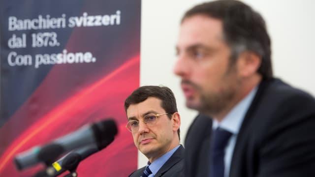 Marcelo Kalim, Finanzleiter der brasilianischen Bank BTG Pactual, rechts, neben Stefano Coduri, CEO von BSI.