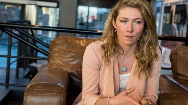 Mikaela Shiffrin bei einem Interview.