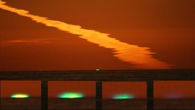 Bilderabfolge eines Sonnenuntergangs mit Grünem Blitz
