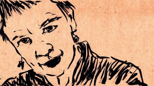Ein gezeichnetes Frauengesicht.