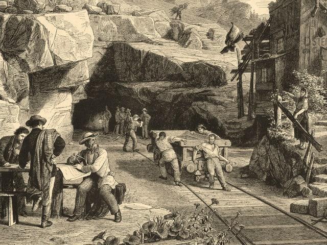 Zeichnung von Arbeitern.