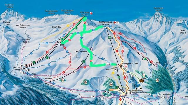 Carta dal territori da skis da Savognin