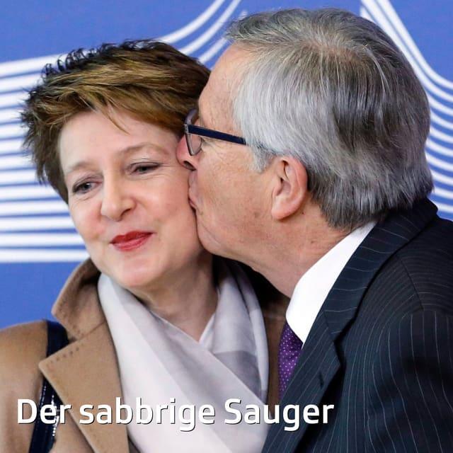 Jean-Claude Juncker beim legendären Schnappkuss mit Bundespräsidentin Simonetta Sommaruga im Februar 2015. Geht das schon unter psychologische Kriegsführung?