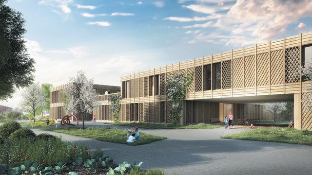 Visualisierung Siegerprojekt des Architekturwettbewerbs für eine Kinder- und Jugendpsychiatrischen Klinik.