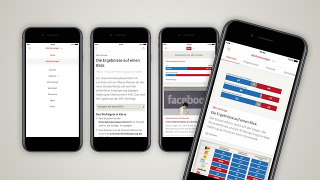 Verschiedene Printscreens des SRF App-Updates.