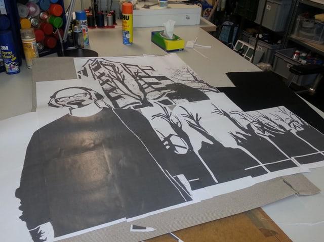 Aus diesen Motiven entsteht eine Schablone für Street Art.