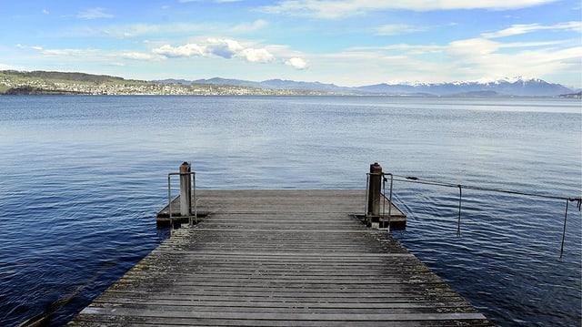 Ein Steg reicht ins Wasser des Zürichsees.