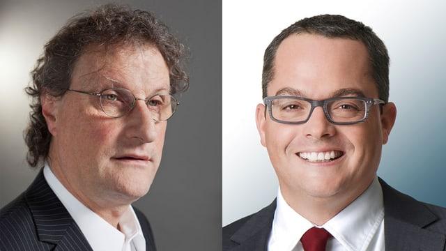 Portraits der beiden Kandidaten Geri Müller und Roger Huber