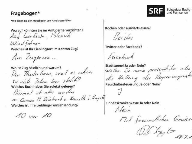 Der von Peter Hegglin ausgefüllte Fragebogen.