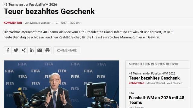 «Teuer bezahltes Geschenk. Die FIFA will mehr Einnahmen, immer mehr. Dabei ist es offensichtlich völlig egal, dass sich ein solches Großturnier noch schwerer in den internationalen Spielkalender einbauen lässt.»