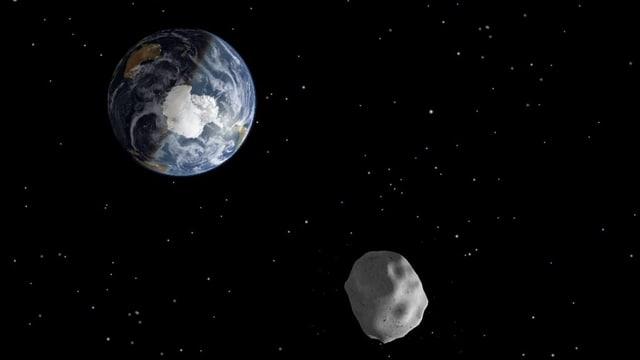 Grafische Darstellung der Erde, davor ein Gesteinsbrocken.