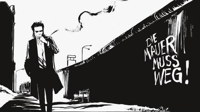 Comic: Nick Cave läuft rauchend der Berliner Mauer entlang.