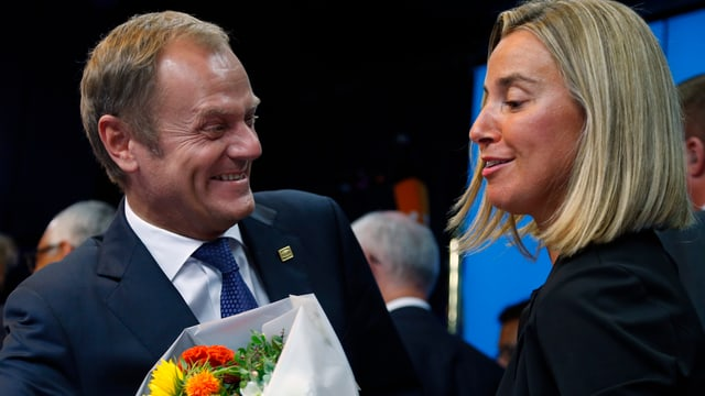 Donald Tusk und Federica Mogherini.
