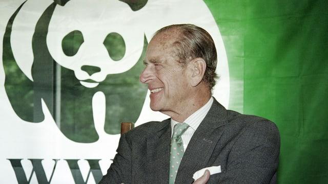 Prinz Harry grinst in grauem Anzug und mit grüner Krawatte vor einem WFF-Banner.