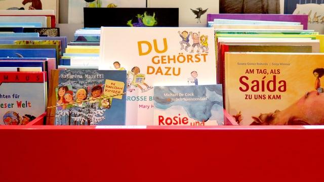Ein Regal im Kinderbuchladen Zürich.