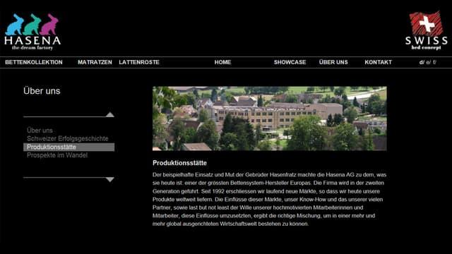 Die Rubrik Produktionsstätte als Screenshot.