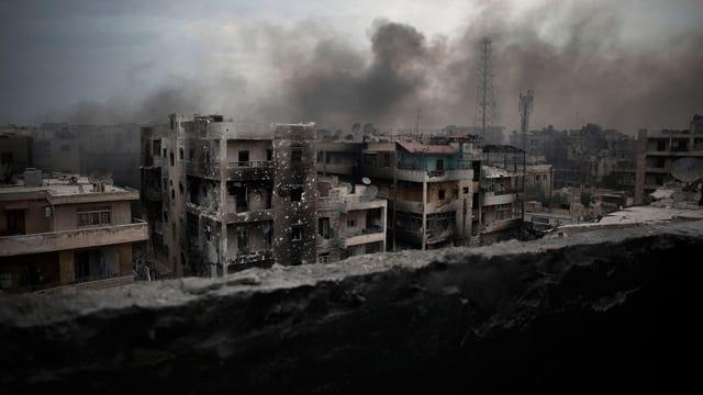 Bombenschäden in Aleppo, Aufnahme von 2012.